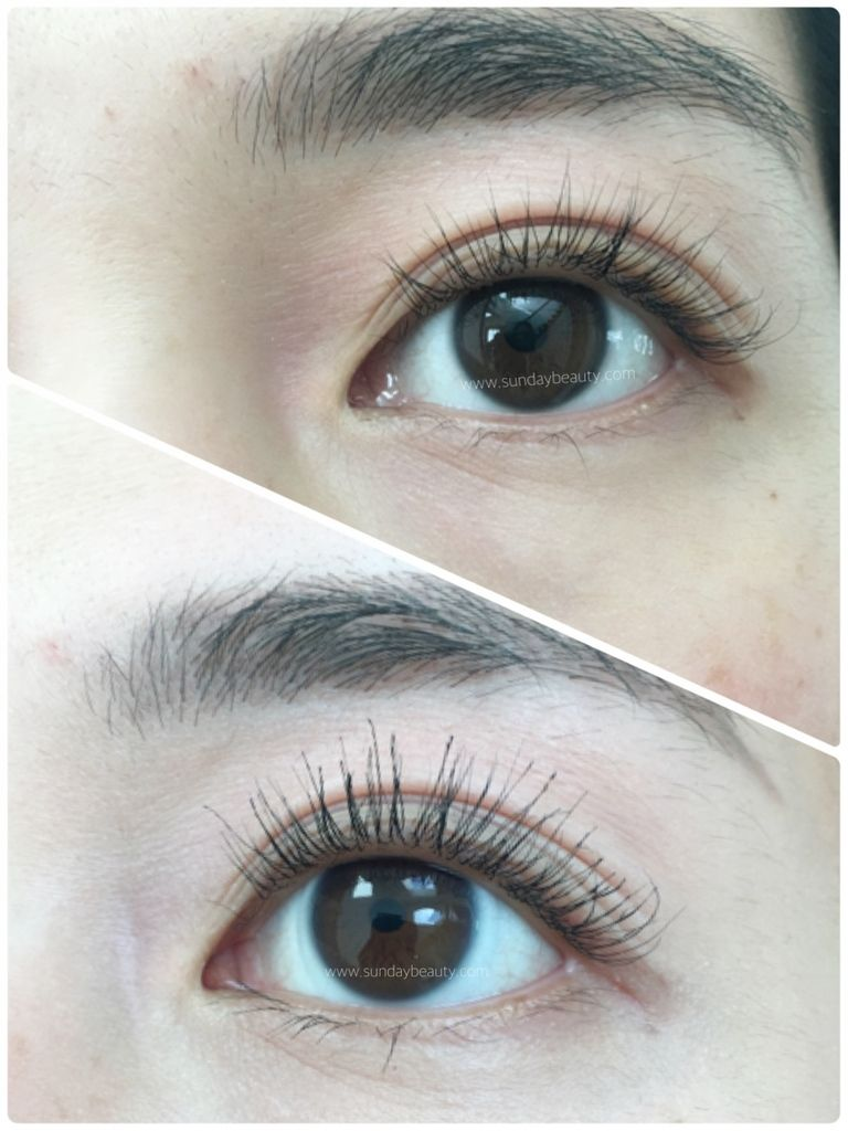 fecc5f91d49 Top – Lashes fluffed out with no makeup. Bottom – Lashes with a coat of  EyEnvy Intense Mascara.