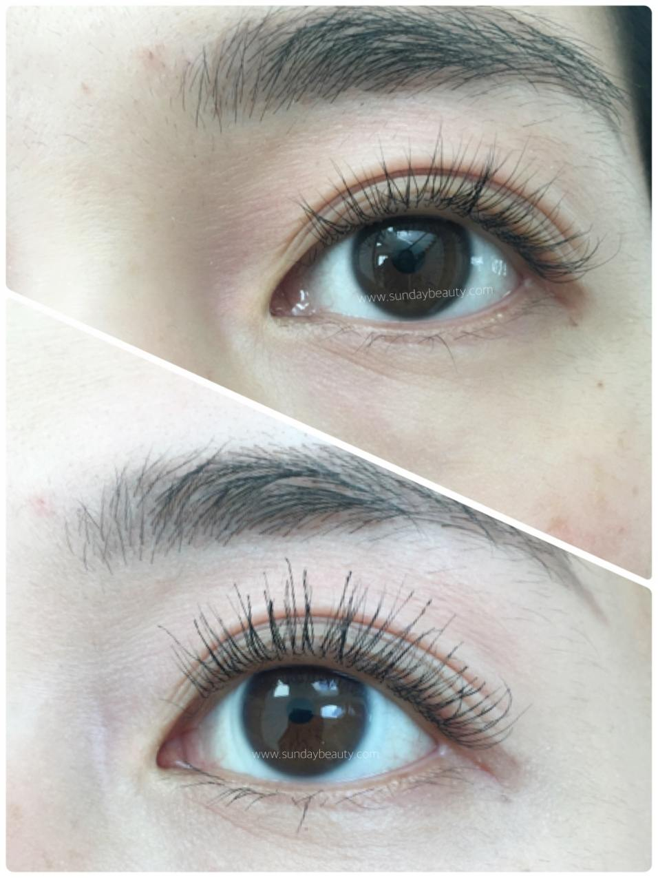 9080420b964 Top: Washed and brushed lashes. Bottom: EyEnvy Conditioning Mascara applied.
